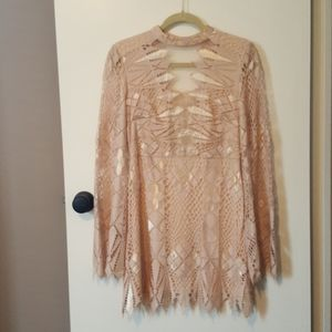 Free People Lace Bell Sleeve Mini Dress